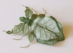Fiber Art Insect Statement Brooch Pin Leaf Bug by BlueTerracotta