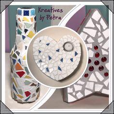 Mosaik  VaseHerz❤️Stern⭐️  kreativesbypetra Plates, Tableware, Mosaic, Stars, Creative, Licence Plates, Plate, Dinnerware, Dishes