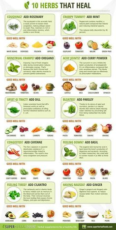 10 Herbs for healing: from nausea to bloat to fatigue with good ideas for food pairings. Natural is always better (: