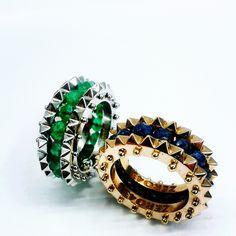 3, ring white gold, emeralds rose gold, sapphires #zero43