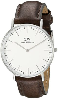 Daniel Wellington Mens 0209DW Bristol Stainless Steel Watch With Brown Leather Band >>> Check out the image by visiting the link.