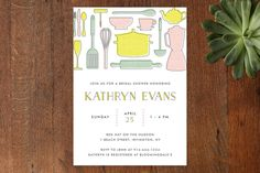 Retro Kitchen Bridal Shower Invitations by Pretty in Paper at minted.com