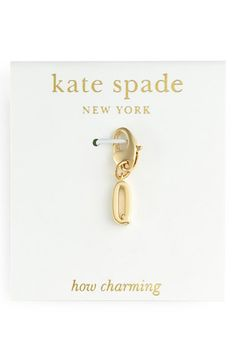 Women's kate spade new york 'how charming' initial charm - Gold- Q