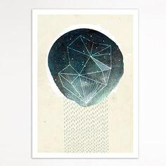 Meteor Shower 5x7 illustrated art print modern by SevenOlives