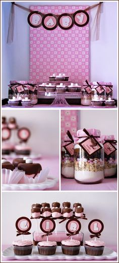 Pink and brown dessert table and banner.