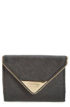 In love with this ultra-chic crosshatched-leather wallet with a zipper-tooth trim and logo-etched hardware in gold by Rebecca Minkoff.