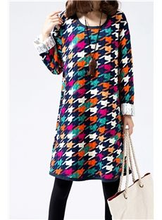 Color Block Print Round Collar Casual Dress