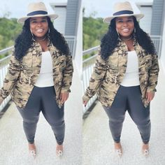 2017 Fall Fashion Trends, Autumn Fashion, Polyvore Casual, Plus Size Fall Fashion, Fall Is Here, Utility Jacket, Plus Size Outfits, Camo, Curvy