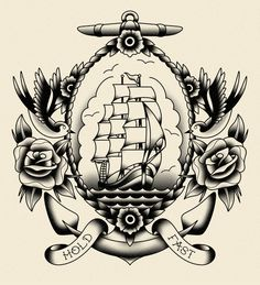 A series of print designs for New York Clothing company 'D'Ayot' in a traditional sailor tattoo style.