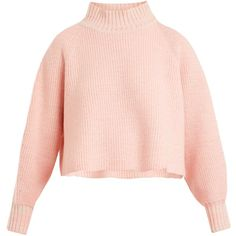 Vika Gazinskaya Cropped wool sweater (40.775 RUB) ❤ liked on Polyvore featuring tops, sweaters, pink, pink top, raglan sweater, wool sweater, longer sweater and long tops