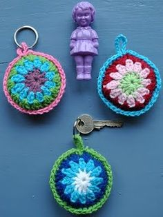 Crochet key chains. Use to keep up with scissors.