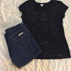 Calvin Klein Shirt and jeans Black sparkly shirt and dark wash jeans size 10R flare fit. Shirt is a Large. Pictures show both shirt and jeans! Calvin Klein Tops Tees - Short Sleeve