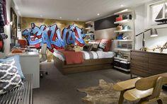 Tween boys bedroom - like shelving idea