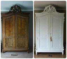 Antieke kast geschilderd in Historical White Matt van Painting the Past door Monique Vredenburg www.moniquevredenburg.nl