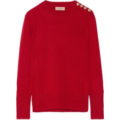 Burberry Embellished cashmere sweater ($490) ❤ liked on Polyvore featuring tops, sweaters, burberry, embellished sweaters, red sweater, thick cashmere sweater, red top and burberry tops