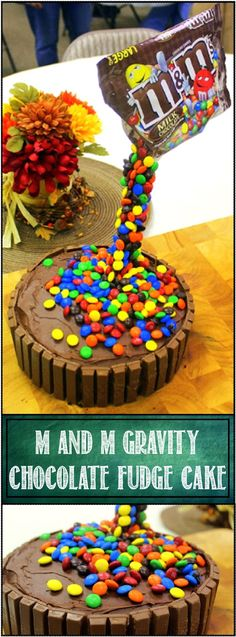 M and M Gravity Chocolate Fudge Cake - 52 Holiday Cake and Pies at Home - This is an OMG AMAZING PRESENTATION that will delight family friends and stun your enimies. And beat of all, this is INCREDIBLY EASY. There is a small trick to getting the bag to stay Gravity Defying, but that is really really easy as well. All the hints tricks and amazingly simple details in the post so you too can DIY AMAZE YOUR FRIENDS DEFYING GRAVITY!