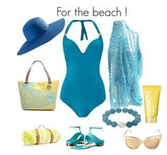 For the beach ! by andreadesigns1 on Polyvore featuring Biba, Oscar de la Renta, Emilie M, Linda Farrow, Clinique and Maslin & Co.