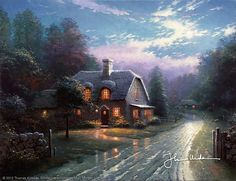 Thomas Kinkade - Moonlight Lane  1994