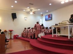 The whole church worshipping.