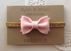 baby bow headband pink felt bow on gold glitter by ryanandwren, $8.00