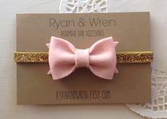 baby bow headband pink felt bow on gold glitter by ryanandwren, $8.00