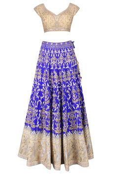 Ink blue and nude jaal embroidered 16 kali shaped lehenga set available only at Pernia's Pop Up Shop.