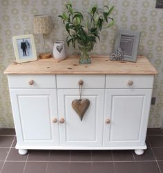 Shabby Chic Annie Sloan painted pine sideboard                                                                                                                                                                                 More Distressed Furniture, Shabby Chic Furniture, Small Dresser, Dressing Tables, Florals, Cabinets, Buffet, Furniture Design, Drawers