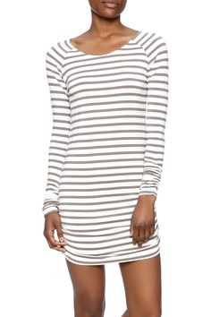 Stripe printed tunic with long sleeves and a boat neckline.  The Mary Tunic by vanilla bay. Clothing - Dresses - Long Sleeve Clothing - Dresses - Casual Clothing - Dresses - Printed Minneapolis Minnesota
