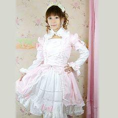 Manica lunga al ginocchio nero vestito di cotone Lolita dolce – EUR € 67.64