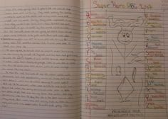 Start your writer's notebook routine strong by allowing reckless creativity, like a Serendipitous Superhero challenge: http://corbettharrison.com/GT/SuperheroABCs.htm  This is a sample from 6th grader Ryan.