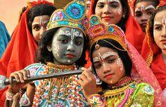 Children dressed as Radha and Krishna in a school festival