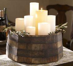 Candle display on barrel bottom