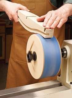Turn your lathe into a double-duty machine with a standard sanding belt and this. Turn your lathe into a double-duty machine with a standard sanding belt and this shop-made drum. Woodturning Tools, Lathe Tools, Wood Tools, Wood Lathe, Lathe Projects, Wood Turning Projects, Diy Wood Projects, Used Woodworking Tools, Woodworking Workshop