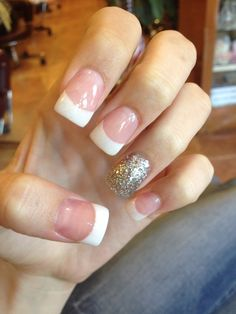Acrylic nails, French tip, Glitter, Pink and white