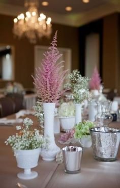 An Elegant Fort Worth Club Wedding with Humorous Personal Touches Mixed In - Fab You Bliss milk glass + mercury glass centerpieces. Obsessed with milk glass + mercury glass. This image has get 0 Mercury Glass Centerpiece, Glass Centerpieces, Wedding Centerpieces, Wedding Decorations, Glass Table, A Table, Table Lamps, Fort Worth Club, Shabby Chic Kitchen Table