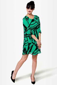 Cute Green Dress - Print Dress - Shift Dress - $44.00
