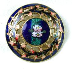 Antique French Enamel Button Silver Foil Under Surface Floral w Pierced Border | eBay