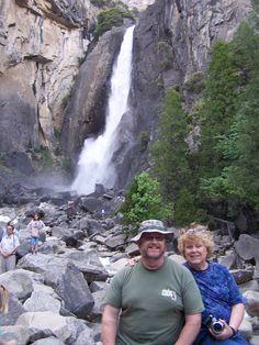 Carol & Robb with lower Yosemite falls in the background.  Jun 2012, CA