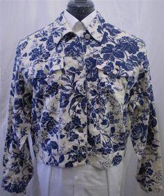 Lauren Ralph Lauren Linen Jean Jacket Blue Floral Print Plus Size Medium