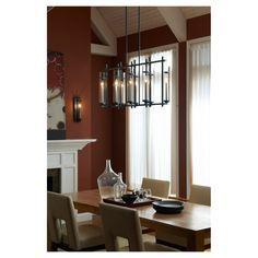 Ethan Chandelier | Feiss at Lightology. Modern home design for luxury houses. Dining room lighting.