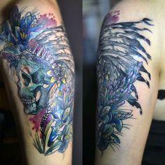 Redberry Tattoo Studio Wrocław #tattoo #inked #ink #studio #wroclaw #warszawa #tatuaz #dresden #redberry #katowice #dzolama #redberrytattoostudio #amaizingtattoo #poland #berlin #sketch #delicate #color #czaszka #skull #indianin #pioropusz #flowers #kwiaty