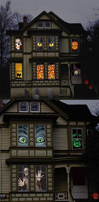 Creepy Halloween window coverings such as those shown to the right are ...