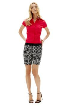 worthington sateen printed shorts and buttonup shirt