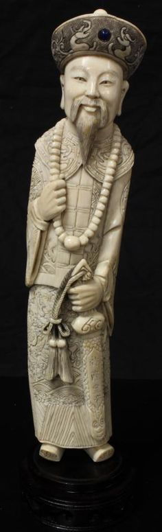 CHINESE IVORY CARVING | chinese ivory hand carved emperor figure antique chinese hand carved ...
