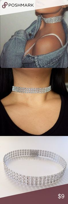 💎CINDERELLA CHOKER💎 Beautiful choker in silver  Adjustable w/Velcro for a clean look  Comfortable 3 Rows Jewelry Necklaces
