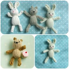 Free knitting patterns designed by Julie at Little Cotton Rabbits. Owl Knitting Pattern, Loom Knitting, Knitting Patterns Free, Free Knitting, Baby Knitting, Free Pattern, Knit Patterns, Knitted Bunnies, Knitted Animals