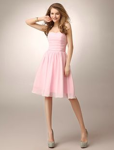 #Wishesbridal Pink Strapless Knee Length Chiffon A Line Bridesmaid Dress B1wb010