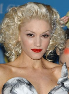 veils, wedding jewelry, wedding hair and beauty - Gwen Stefani glittering hair pin in bright blond curls.