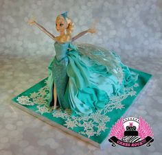 Queen Elsa from Frozen, working her magic! Everything about this Elsa birthday cake is edible, including the CAPE, except the Elsa doll herself! Inspired by the design of Ipoh Bakery's amazing doll cakes, this cake depicts the scene where she is building her ice castle... beautiful for a kids birthday party