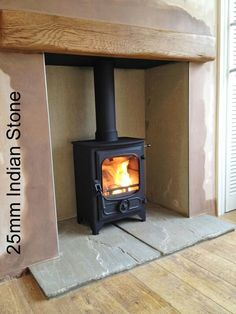 Wood burning stove rustic hearth 38 ideas for 2019 Fireplace Hearth Tiles, Wood Burner Fireplace, Inglenook Fireplace, Open Fireplace, Diy Fireplace, Fireplace Design, Fireplaces, Cottage Fireplace, Victorian Fireplace